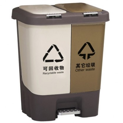 HBY-SNGT-A系列干湿四分类垃圾桶  压盖脚踏  定制垃圾桶  单位学校办公室幼儿园